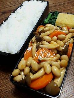大豆とシメジのオイスター黒酢炒め