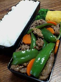 牛肉とピーマンのバルサミコ七味炒め