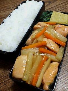 鮭と大根のシーフードチリソース炒め