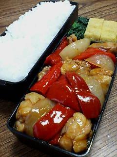 鶏肉と赤ピーマンの柚子胡椒ケチャップ炒め