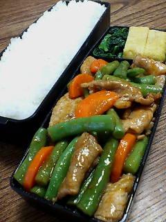 豚肉とインゲンのケチャップ黒酢炒め
