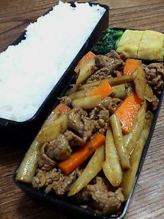 牛肉とゴボウのケチャップ炒め