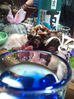 アワビと、サザエと、日本酒と