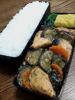 鮭とナスの味噌黒胡椒炒め