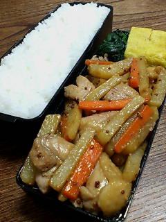 鶏肉とジャガイモの粒マスタード炒め