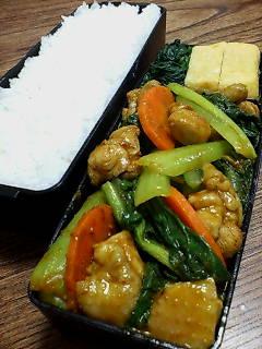 鶏肉と小松菜のカレーケチャップ炒め