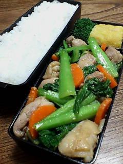 鶏肉と小松菜の生姜味噌炒め