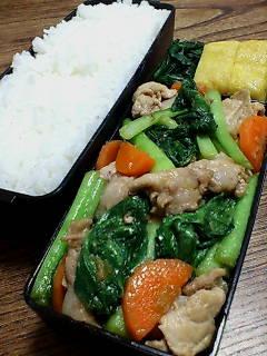 豚肉と小松菜の生姜炒め