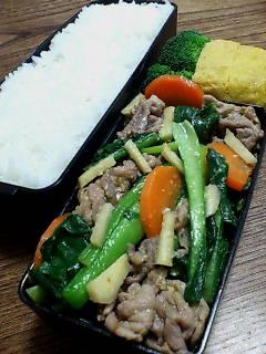 豚肉と小松菜の生姜味噌炒め