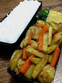 鶏肉とジャガイモのオイスターカレー炒め