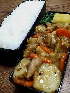 鶏肉と里芋のオイスター黒酢炒め