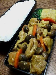 鶏肉とシメジの味噌カレー炒め