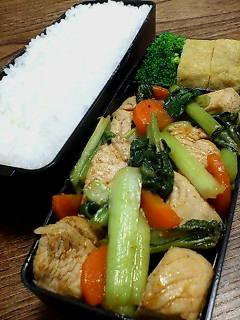 鶏肉とタアサイのケチャップ醤油炒め