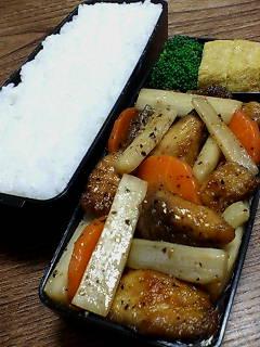 鯖とウドの黒酢炒め