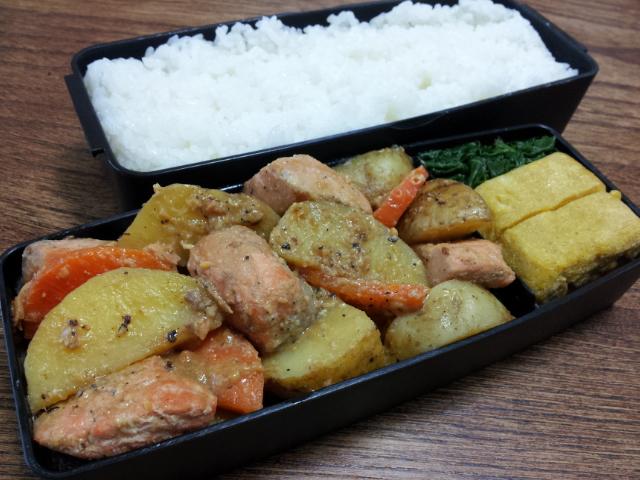 鮭とジャガイモの味噌炒め