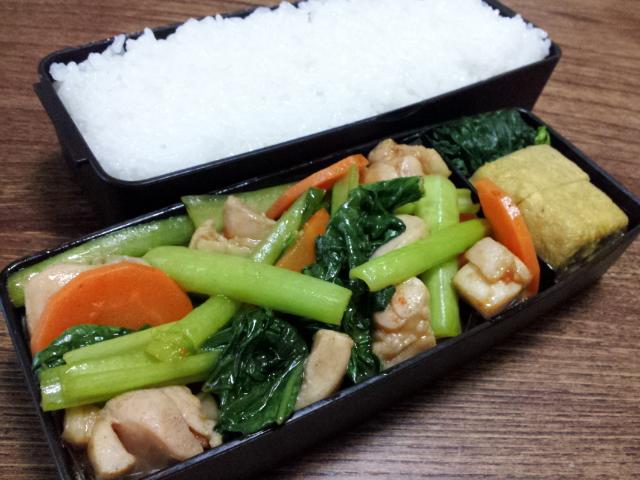 鶏肉と小松菜のケチャップ醤油炒め