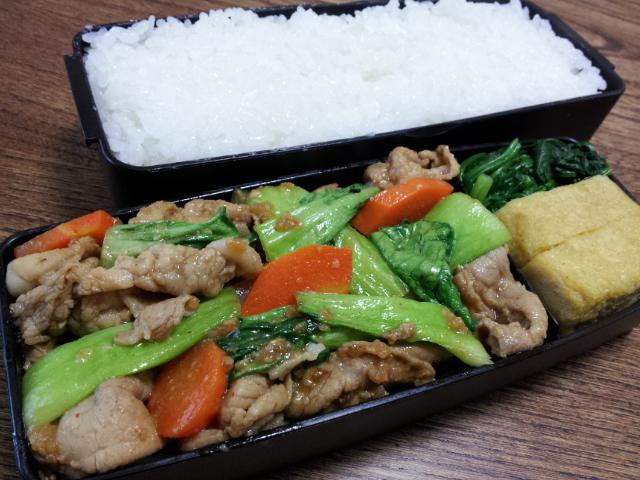 豚肉とチンゲンサイの醤油麹七味炒め